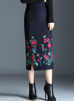 High Waist Embroidered Slit Bodycon Skirt
