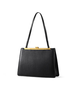 Brief Clasp Lock Leather Top Handle Bag