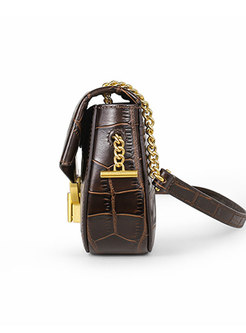 Retro Cowhide Leather Clasp Lock Crossbody Bag