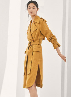 Turn Down Collar Belted Side-slit Trench Coat