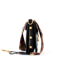 Genuine Leather Rivet Clasp Lock Crossbody Bag
