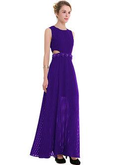 Stylish Sleeveless Hollow Out Hem Maxi Dress