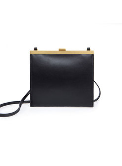 Brief Clasp Lock Genuine Leather Crossbody Bag