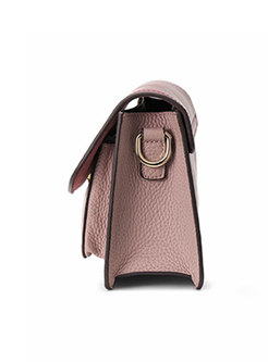 Color-blocked Magnetic Lock Crossbody Bag