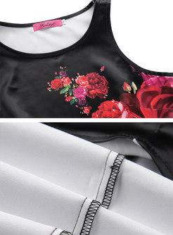 Stylish Print Sleeveless Slim Maxi Dress