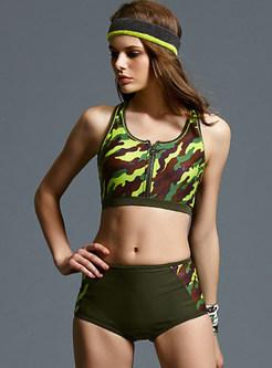 Fashion Scoop Neckline Camouflage Tankini