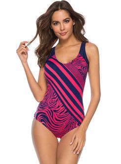 Chic Striped Scoop Neckline Slim Swimwear