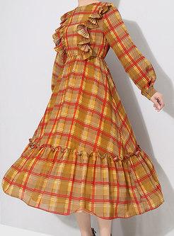Plaid High Waist Falbala Skater Dress