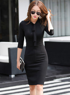 Pure Color Tied Half Sleeve Skinny Dress