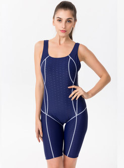 Brief Color-blocked O-neck One Piece Swimwear