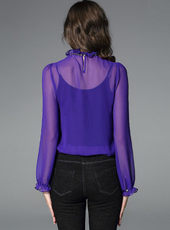 Sexy Perspective Falbala Silk Pullover Blouse