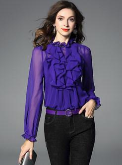 Fashion Sexy Perspective Falbala Silk Blouse