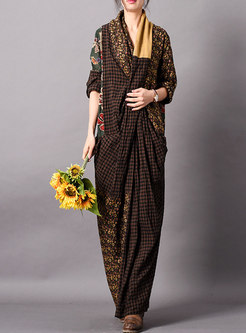 Chic Plaid Splicing V-neck Loose Maxi Dress