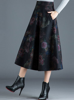 Elegant Print High Waist Hem Skirt