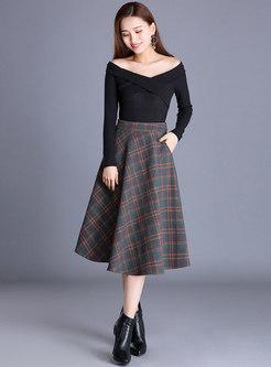 Brief Plaid High Waist A Line Skirt