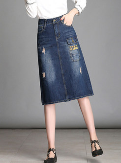 High Waist Denim A Line Midi Skirt