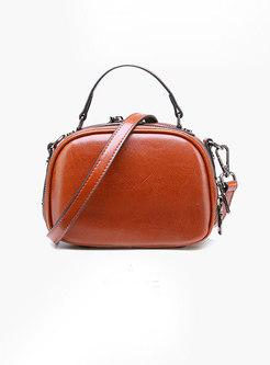 Stylish Leather Zipper Top Handle & Crossbody Bag