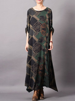 Vintage Print O-neck Loose Maxi Dress