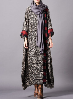 Elegant Print Splicing O-neck Loose Maxi Dress