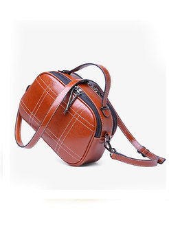 Genuine Leather Zipper Top Handle & Crossbody Bag
