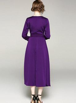 Pure Color V-neck Belted Single-breasted Slim Dress