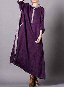 Casual Color-blocked Lapel Loose Maxi Dress