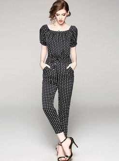 Polka Dot Slash Neck Slim Jumpsuit