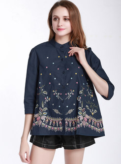 Stylish Loose Embroidered Irregular Hem Blouse