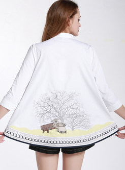 Standing Collar Loose Embroidered Blouse