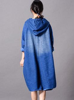 Casual Print Hooded Slit Shift Dress