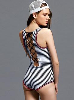 Sleeveless Striped Backless Tied Swimwear