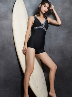 V-neck Conservative One Piece Swimwear