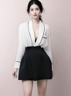 Sexy Deep V-neck Long Sleeve Two Piece Outfits
