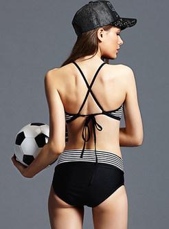 Fashion O-neck Backless Tied Tankini