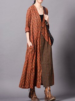 Print Splicing Buttoned Loose Coat