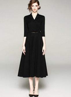 Elegant V-neck Belted Hem Skater Dress