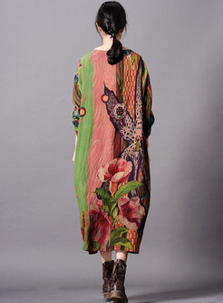 Print Bat Sleeve O-neck Loose Maxi Dress