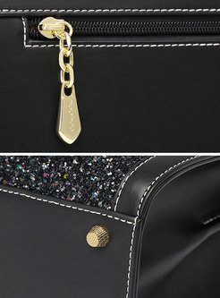 Chic Sequins Zipper PU Top Handle & Crossbody Bag