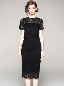 Lace Hollow Out Top & High Waist Bodycon Skirt