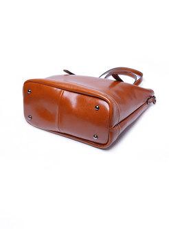 Vintage Cowhide Leather Zipper Tote