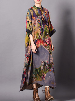Print Stand Collar Asymmetric Loose Dress