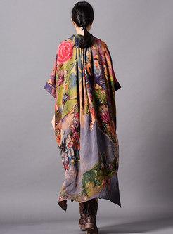 Print Stand Collar Asymmetric Loose Dress