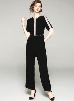 Color-blocked Drilling High Waist Slim Jumpsuit