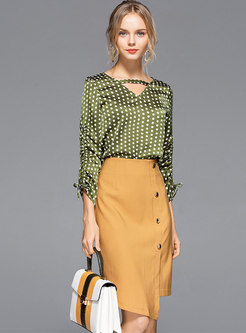 Polka Dot V-neck Blouse & High Waist Asymmetric Skirt
