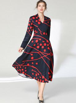 Retro V-neck Print High Waist Maxi Dress