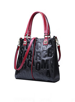 Stylish Color-blocked Letter Pattern Leather Bag