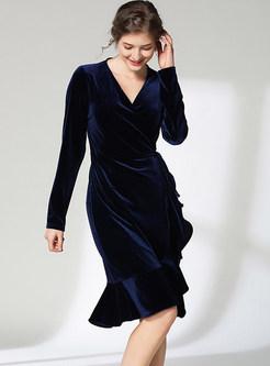 Gold Velvet V-neck Slim Mermaid Bodycon Dress
