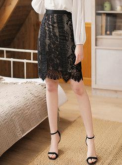 Chic Lace High Waist Sheath Skirt