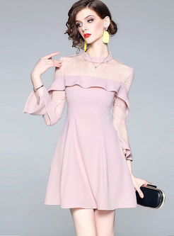 Mesh Splicing Flare Sleeve See-through Skater Dress