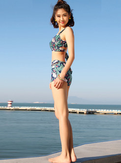 V-neck Sleeveless Print Cover-up Swimwear
